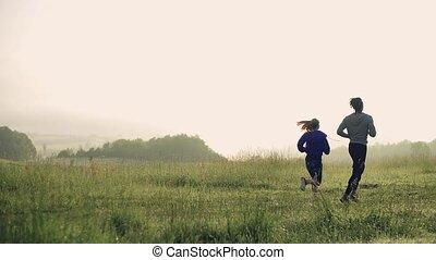 brumeux, jeune, morning., courant, pré, arrière, nature, ...
