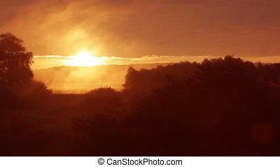brumeux, levers de soleil, matin