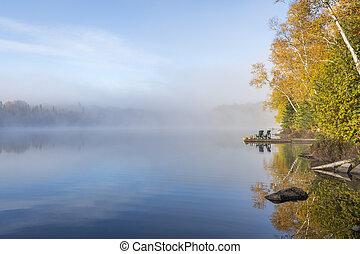 brumeux, matin, sur, a, lac, dans, automne