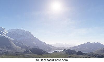 brumeux, montagnes, engendré, 3d, landscape: