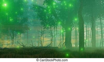 brumeux, nuit, forêt, 4k, magique