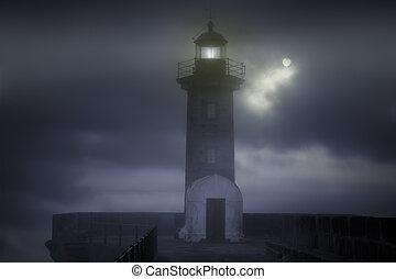 brumeux, phare, nuit
