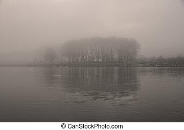 brumeux, rivière, aube