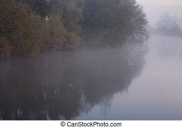 brumeux, rivière, courbe