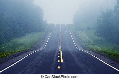brumeux, route, devant