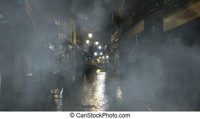 brumeux, rue, vieux, nuit