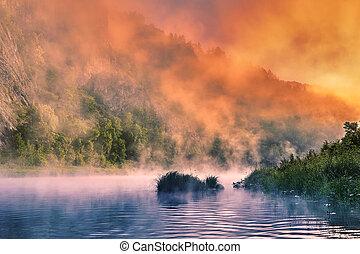 brumeux, sur, matin, river., montagne