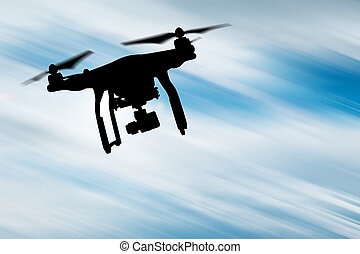 brummen, mit, 4k, fotoapperat, flying.