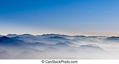 brumoso, colinas, paisaje, montaña