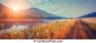 brumoso, fantástico, río