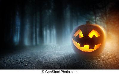 brumoso, halloween, tarde, plano de fondo, con, un, calabaza