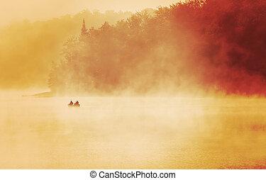 brumoso, luz del sol, mañana, temprano, lago, Exude, pesca,...