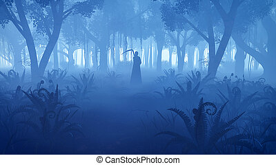 brumoso, silueta, segadora, bosque, noche, severo