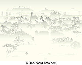 brumoso, valle, árboles, farm.