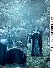 brumoso, viejo, cementerio