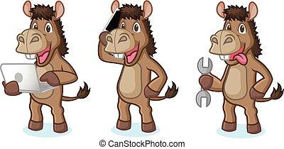 brun, âne, mascotte, téléphone
