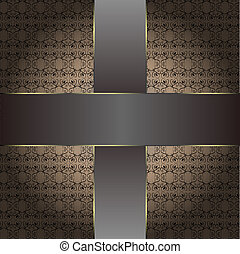 brun, årgång, fond mönstra
