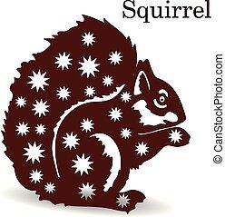 brun, écureuil, silhouette, modèle, décoration, conception, flocons neige