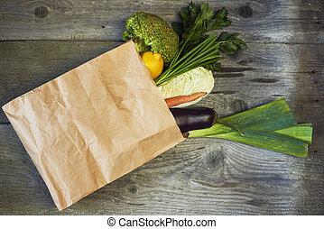 brun, épicerie, assorti, légumes, sac, fruits