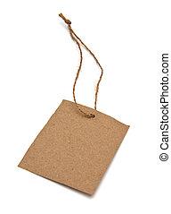 brun, étiquette, ficelle, attaché, vide