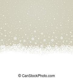 brun, étoiles, flocon de neige, fond