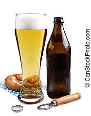 brun, öl, salt kringla, glas, lätt