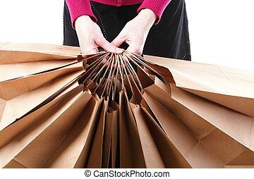 brun, achats, cadeau, fond, sacs