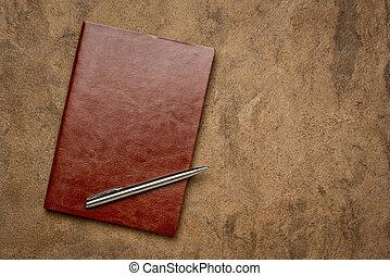 brun, agenda, riche, ou, cuir, album, journal