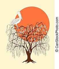 brun, arbre, coucher soleil, pélican, silhouette, sombre