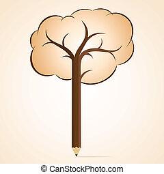 brun, arbre, crayon