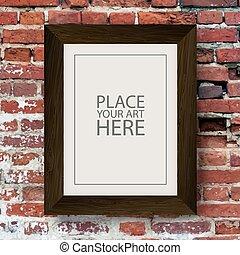 brun, armature bois, mur, brique, rouges
