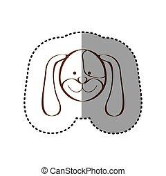brun, autocollant, chien, figure, ligne, contour