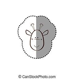 brun, autocollant, figure, girafe, ligne, contour