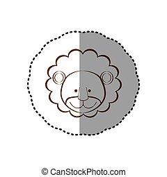 brun, autocollant, figure, lion, ligne, contour