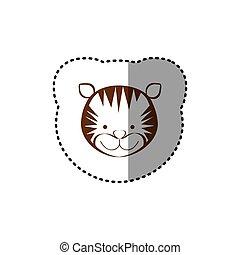 brun, autocollant, figure, tigre, ligne, contour