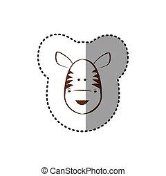 brun, autocollant, figure, zebra, ligne, contour