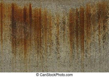 brun, béton, taches, texture, mur, sale, rouille