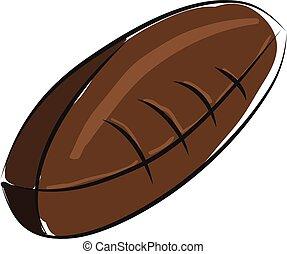 brun, balle, couleur, football, illustration, américain, vecteur, fond, blanc