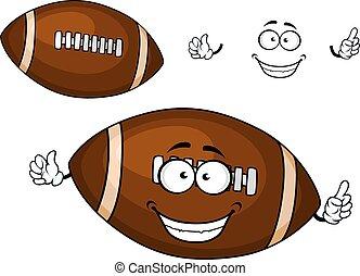 brun, balle,  rugby, caractère, dessin animé, mascotte
