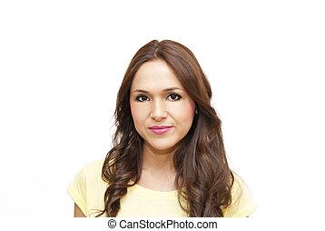 brun, beauté, cheveux, femme