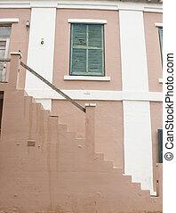 brun, blanc, étapes, stuc, taillé