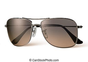 brun, blanc, lunettes soleil, isolé