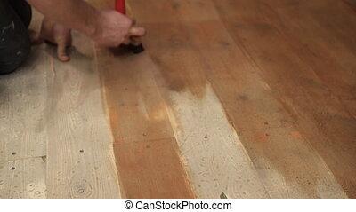 brun, bois, large, floor., peinture, maître, brosse, ...