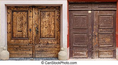 brun, bois, portes