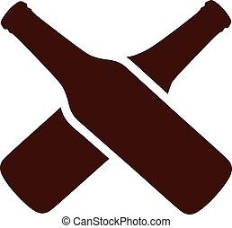 brun, bouteilles bière, traversé