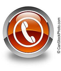 brun, bouton, téléphone, lustré, rond, icône