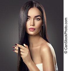 brun, brunett, skönhet, hälsosam, långt hår, rörande, modell, flicka