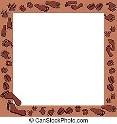 brun, cadre, fotoprints