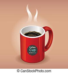 brun, café, arrière-plan., tasse rouge