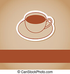 brun, café, chaud, fond, tasse